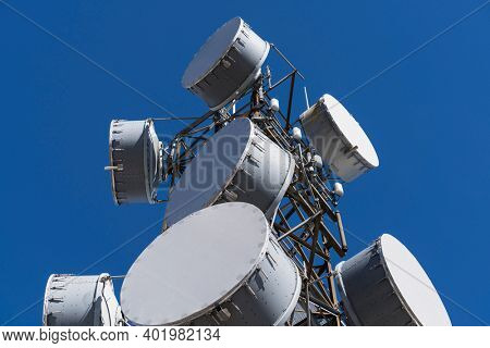 View of bass drum style microwave antennas on tall communications tower.