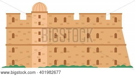 Medieval Fortress With Towers And Walls Vector Illustration. Old City In Greece And Castle. Historic