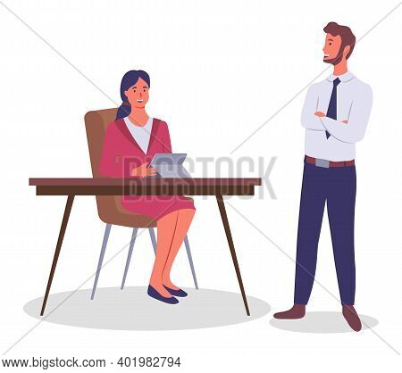 Business Meeting, Communication. Businessman Chief Standing At A Table With Crossed Hands Listening