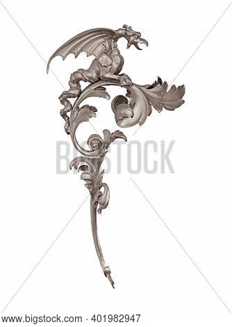 Silver Decorative Element Dragon Isolated On White Background. Design Element With Clipping Path