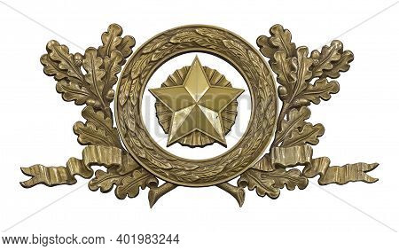 Golden Decorative Wreaths With The Star Isolated On White Background. Design Element With Clipping P