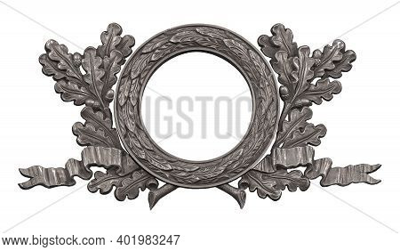 Silver Decorative Wreaths Isolated On White Background. Design Element With Clipping Path