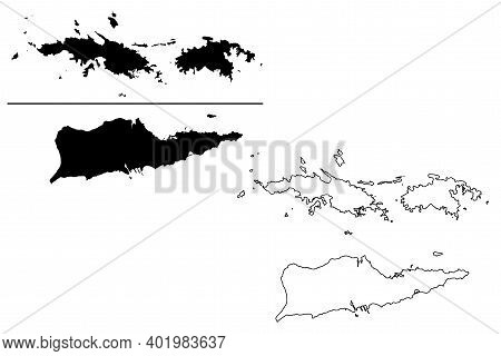 Virgin Islands Of The United States Of America (united States Of America, Usa, Us) Map Vector Illust