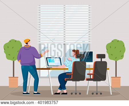 Businesswomen Dressed In Casual Clothes Sitting At The Table With Computer, Standing In Room And Tal