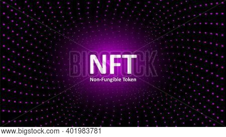 Nft Nonfungible Tokens Text In The Center Of Spiral Of Glowing Dots On Dark Background. Pay For Uniq