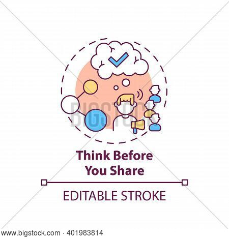 Thinking Before Sharing Concept Icon. Fake News Checking Tip Idea Thin Line Illustration. Critical T