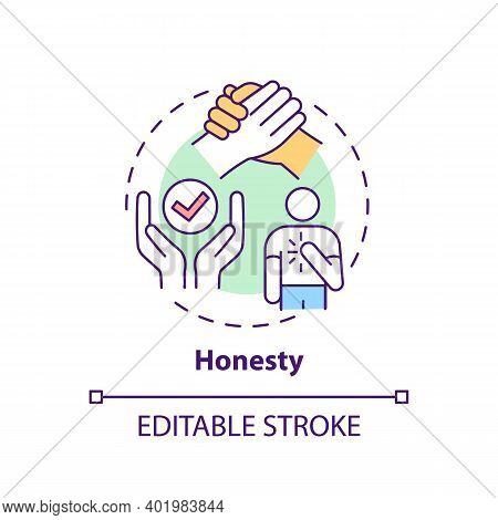 Honesty Concept Icon. Journalistic Ethics Standards Idea Thin Line Illustration. Seeking Truth And R
