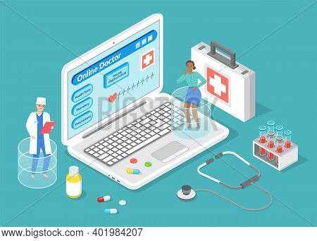 Online Doctor, Medical Treatment, Consulting With Doctor In Internet, Website, Physician Or Therapis
