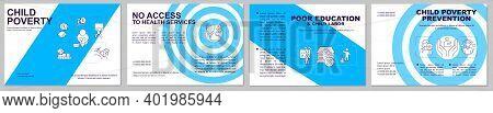 Child Poverty Blue Brochure Template. Children Protection. Flyer, Booklet, Leaflet Print, Cover Desi