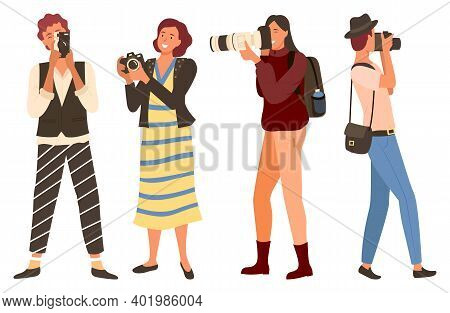 Females Character Holding Camera, Travel And Photographing. Photographers People In Casual Clothes S