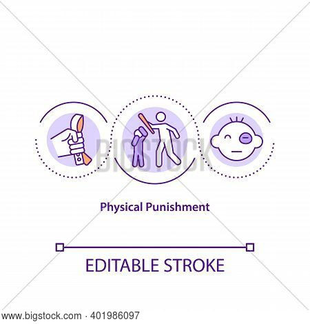 Physical Punishment Concept Icon. Domestic Violence. Harm And Injury From Parent Beating. Child Safe
