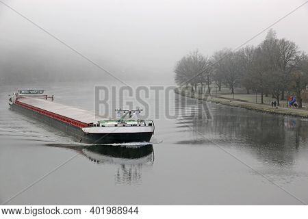Barge On The River Moselle, Germany, In Winter