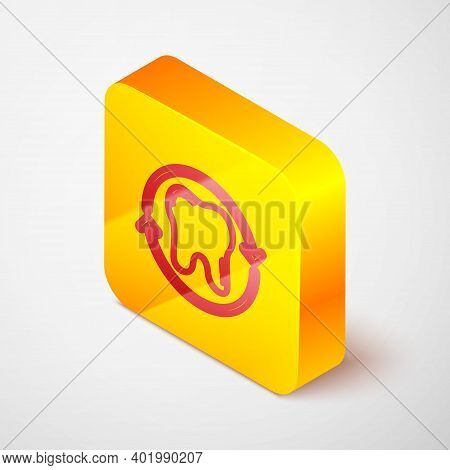 Isometric Line Tooth Whitening Concept Icon Isolated On Grey Background. Tooth Symbol For Dentistry