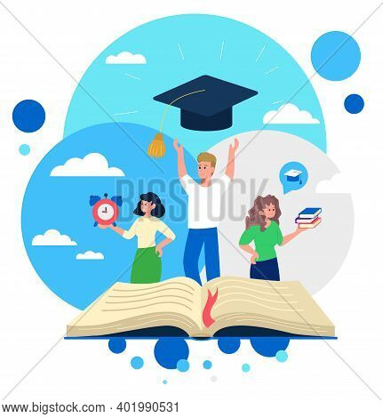 Group Of Students Studying In The University To Graduate It And Get Bachelor Degree. Books, Graduati