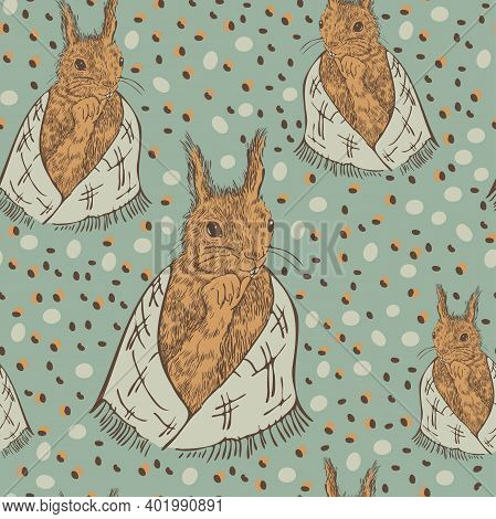 Vector Seamless Pattern With Squirrels In Scarf And Acorns. Cute Animal Pattern Design.