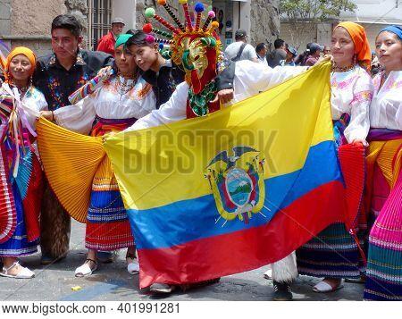Cuenca, Ecuador - February 22, 2020: Carnival Parade In Cuenca City. Dancers From Canton Cayambe, Pi