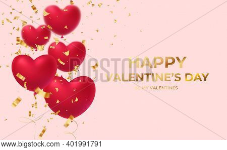 Red Glittering Heart Shape Balloons With Gold Glittering Confetti Inscription Happy Valentines Day I