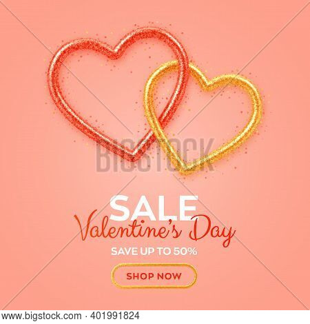Valentines Day Sale Banner With Shining Realistic Red And Gold 3d Hearts With Glitter Texture And He
