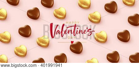 Background For Valentines Day Banner, Poaster, Postcard Made Of Heart-shaped Chocolates Wrapped In G