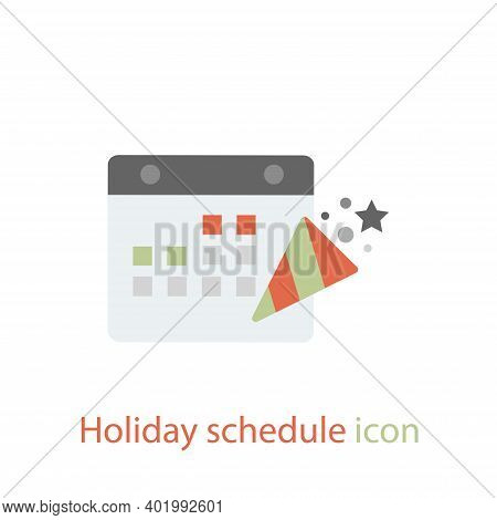 Holiday schedule icon vector in trendy flat style isolated on white background. Holiday schedule icon image, Holiday schedule icon illustration. Holiday schedule icon