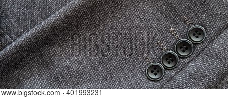 High Resolution With Details, Banner Shot Of Formal Black Or Dark Grey Wool Suit Fabric Texture. Wit