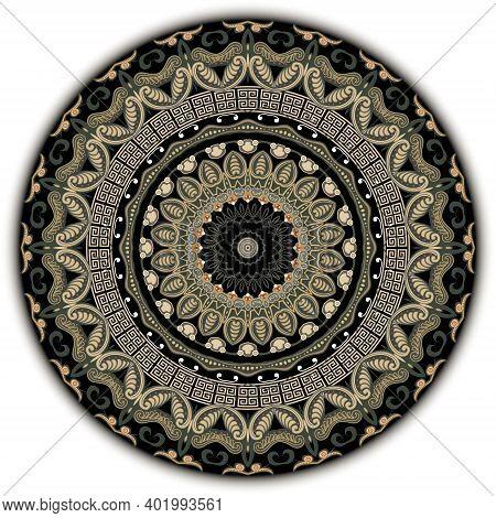 Floral Rosette. Round Paisley Mandala Pattern. Greek Style Ornamental Background. Decorative Backdro