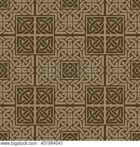 Elegant Seamless Pattern. Celtic Style Ornamental Intricate Vector Background. Modern Repeat Ornate