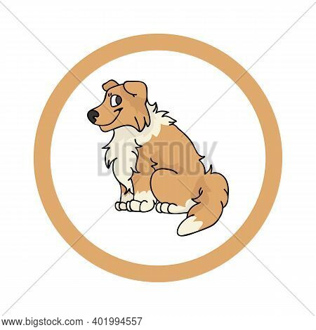 Cute Cartoon Scootish Collie In Dotty Circle Puppy Vector Clipart. Pedigree Kennel Doggie Breed For