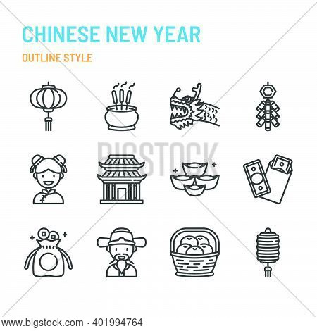 Chinese New Year In Outline Icon And Symbol Set