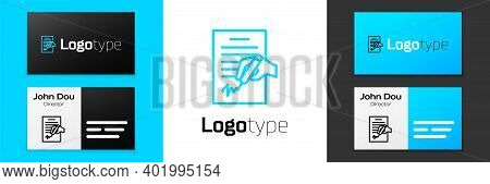 Blue Line Petition Icon Isolated On White Background. Logo Design Template Element. Vector