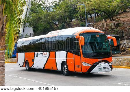Acapulco, Mexico - May 28, 2017: Touristic Coach Bus Irizar I5 In The City Street.