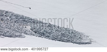 Panoramic View On Snow Slope With Trace Of Avalanche. Close-up View