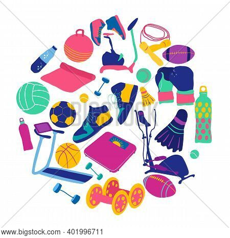 Sports Equipment Icon Set. Related Cute Funky Colourful Tools.flat Cartoon Vector Illustration.train