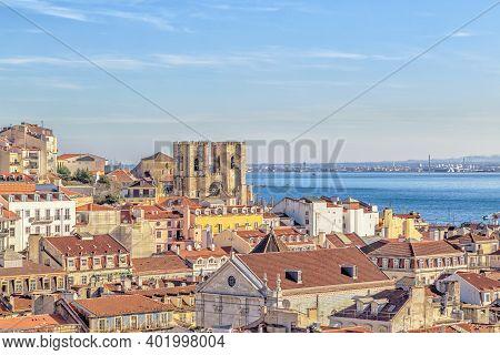Lisbon View With The Cathedral Sé De Lisboa Or Igreja De Santa Maria Maior.