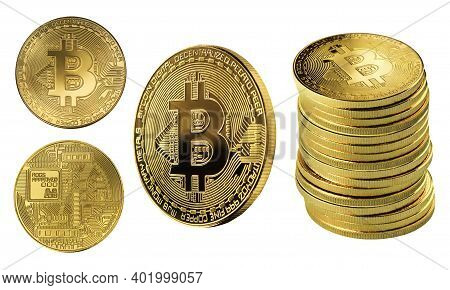 Set Of Cryptocurrencies With A Golden Bitcoins Isolated On White