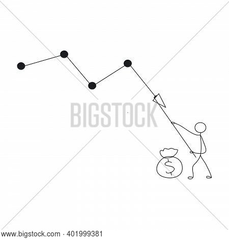 Illustration Of Stick Figure Vector Concept: Stickman Pulling Down Cost Reduction Graph