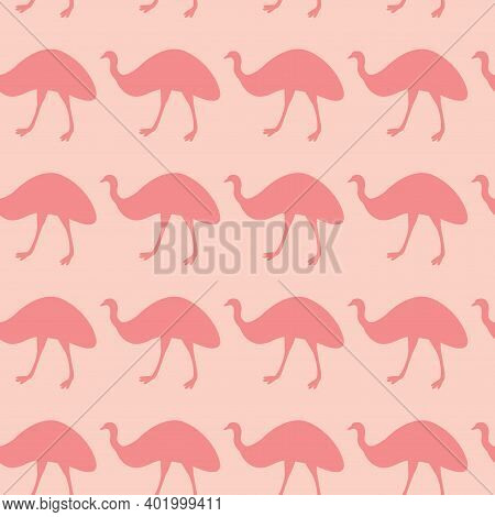 Seamless Attern With Silhouette Of Australian Bird - Ostrich Emu. Animal Print