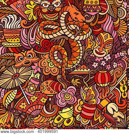 Cartoon Cute Doodles Chinese New Year Seamless Pattern. Colorful Background. Backdrop With China Sym