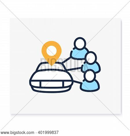 Car Sharing Color Icon. New Normal Concept. Car To Share. Rent. Mutual Aid In Lockdown. Charity, Vol