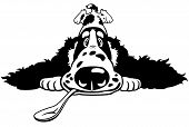 dog english cocker spaniel breed,cartoon puppy with spoon,front view picture,black white illustration poster