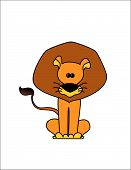 Comic lion the king of animals on a white background poster