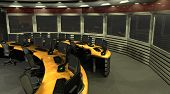 3d render of a surveillance room. poster