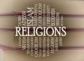 Religions word cloud with a books background poster