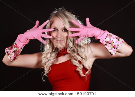 Happy Woman Wearing Latex Gloves