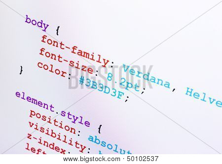 Css Source Code Closeup Diagonal View