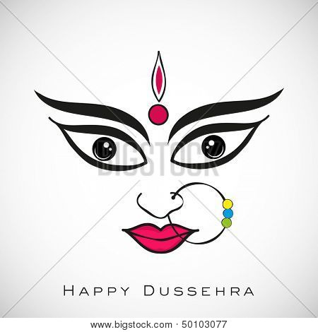 Illustration of Goddess Durga for Indian festival Desshra background.