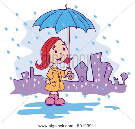 cartoon illustration of a little girl with umbrella standing in a rain