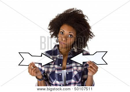 Young African American Holding Blank Arrows