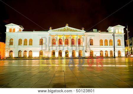 Sucre Theather, Quito, With Banner Of Ecuador