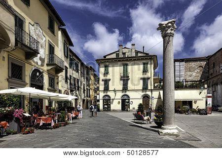 Piazza Della Colonna Mozza In Lucca, Tuscany, Italy.